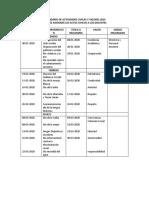 CALENDARIO DE ACTIVIDADES CIVICAS Y VALORES 2020