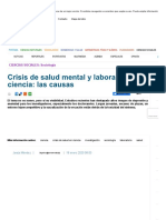 Crisis de salud mental y laboral en la ciencia las causas