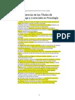 Incumbencias de los Títulos de Piscólogo y Lic. en Psicología - Res. 2447 Min. de Educación y Cul