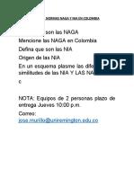 TALLER NORMAS NAGA Y NIA EN COLOMBIA