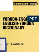 Yorùbá English - English Yorùbá Concise Dictionary Ọlabiyi Babalọla Yai