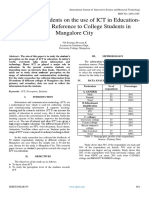 Perception of students on the use of ICT in Education- A Study with Reference to College Students in  Mangalore City