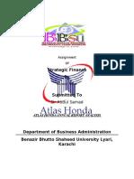 Summary of Four Financial Statements of Atlas Honda