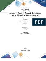 Formato entrega Trabajo Colaborativo – Unidad 1 Fase 1 - Trabajo Estructura de la Materia y Nomenclatura_Grupo 20