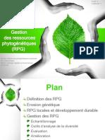 4°Gestion des resssources phytogénétiques (RPG)