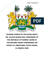 Statement by His Excellency, Dr Julius Maada Bio, President of the Republic of Sierra Leone at the Second Press Conference on COVID-19. State House, Freetown - 31 March 2020.PDF