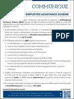 Plan d'aide aux self-employed - communiqué de la MRA
