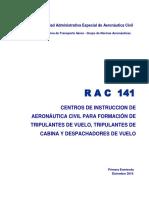 RAC  141 - C.de instrucción aeronáutica civil-Tripulantes de vuelo-Cabina y Despachadores de vuelo.pdf