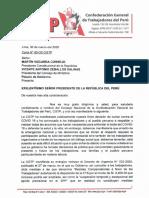Carta Urgente N° 50 CGTP al Presidente Martin Vizcarra 310320