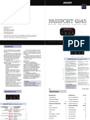 escort passport qi45 euro radar laser detector