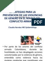 Presentación ESTRATEGIAS PREVENCION DE LA VSX BAJO EL MARCO CONFLICTO ARMADO