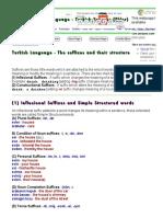 Turkish Language - Turkish Suffixes (Ekler)