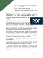 Sustracción y restitución internacional de las y los menores en México, Trámite ante SRE,Tratamiento Penal en Q. Roo