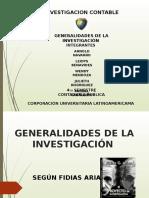 GENERALIDADES DE LA INVESTIGACIÓN