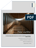 Peter Zumthor La fenomenología como parte del proceso de diseño arquitectónico orientado a espacios religiosos