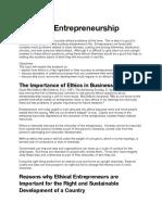 Ethics in Entrepreneurship