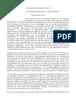Carta para la ministra de cultura. Ruben Dario
