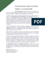 INOPORTUNA SOLICITUD DE ALLANAR INMUNIDAD PARLAMENTARIA A LA MALICHE