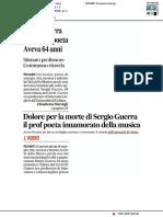 Addio Guerra, musicista e poeta. Aveva 64 anni - Il Corriere Adriatico del 31 marzo 2020