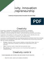 Creativity, Innovation & Entrepreneurship