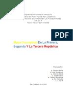 Mapa Conceptual de las 3 Primeras Repúblicas