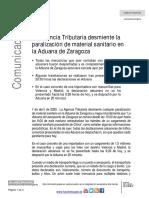 01-04-20 Comunicado AEAT Aduana Zaragoza