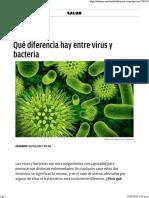 Qué Diferencia Hay Entre Virus y Bacteria