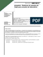 NBR NM 00027 - 01 - Agregados - Redução da amostra de campo para ensaios de laboratório