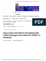 Class Action Suit Filed In US Seeking $20 Trillion Damages From China For COVID-19 Pandemic