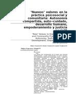 'Nuevos' valores en la práctica psicosocial m