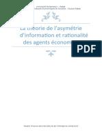 8-Rapport sur la théorie de l'asymétrie d'information et rationalité des agents économiques