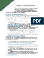 CONDICIONES DEL SERVICIO YOUTUBE