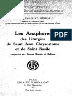 Les anaphores des liturgies de saint Jean Chrysostome et de saint Basile - J. Moreau