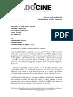 Carta de ADOCINE Al Presidente Danilo Medina