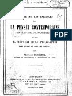 Lettre sur les exigences de la pensée contemporaine en matière d'apologétique - M. Blondel