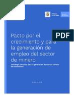 Pacto por el crecimiento y para la generación de empleo del sector Minero