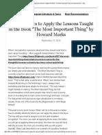 A Dozen Ways to Apply the Lessons Howard Mark