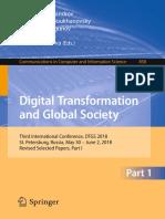 (Communications in Computer and Information Science 858) Daniel A. Alexandrov, Alexander V. Boukhanovsky, Andrei V. Chugunov, Yury Kabanov, Olessia Koltsova - Digital Transformation and Global Society.pdf