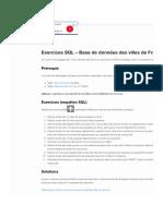 Exercices SQL - Base de données des villes de France - SQL