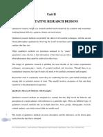 Unit II Qualitative Research Design Lecture Notes