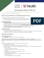 General Precautions With COVID-19