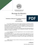 4. Message Ministre Enseignants Chercheurs Etudiants-FR