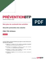 Plan de Continuité Des Activités Sécurité Prévention Salariés PME TPE Artisans Prévention BTP
