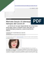 Maricela García  El liderazgo en tiempos del Covid-19