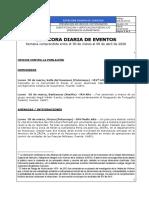 Bitácora Diaria de Eventos del 30 de marzo de 2020