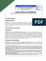 Bitacora Diaria de Eventos 28 y 29 de marzo de 2020
