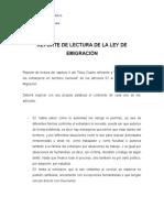REPORTE DE LECTURA DE LA LEY DE EMIGRACIÓN