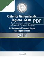 Criterios del Ingreso y el Gasto en Sonora para el 2011