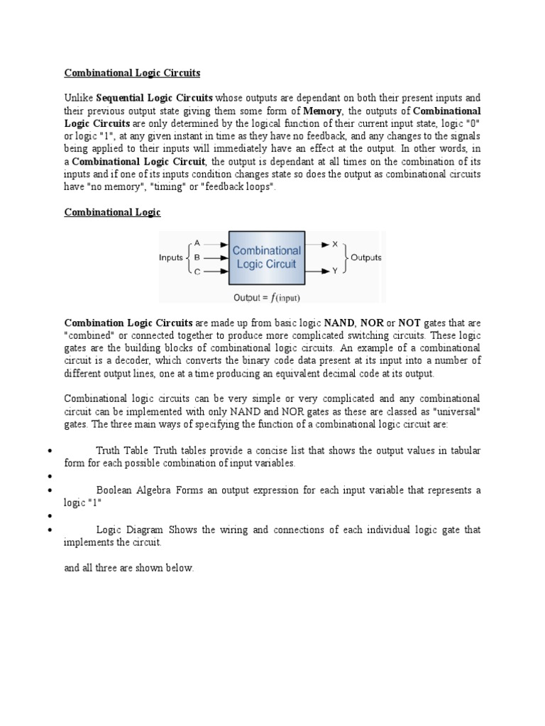 Com Bi National Logic Circuits Gate Electronic Simple Circuit