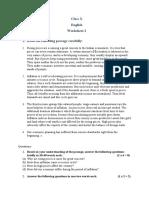 Worksheet 2  (Reading) - English X